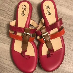 Brand New Sofft EuroSoft Leather Sandals Sz 8 Pink